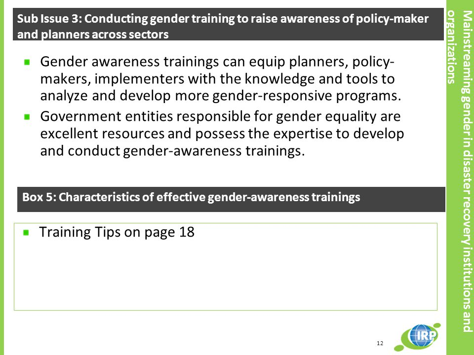 Sub Issue 3: Conducting gender training to raise awareness of policy-maker and planners across sectors