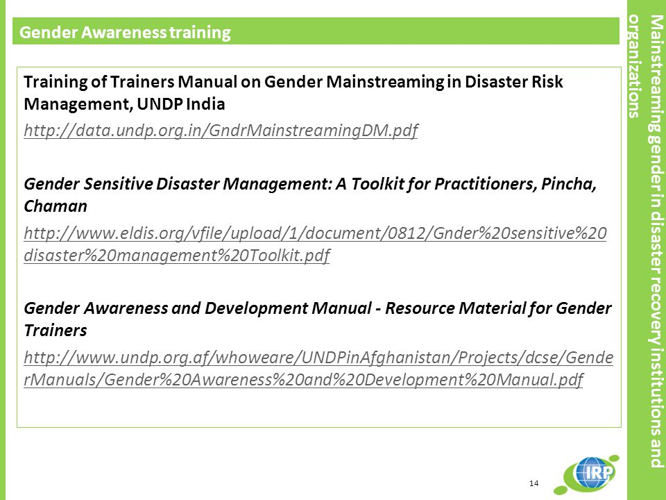 Mainstreaming gender in disaster recovery institutions and organizations
