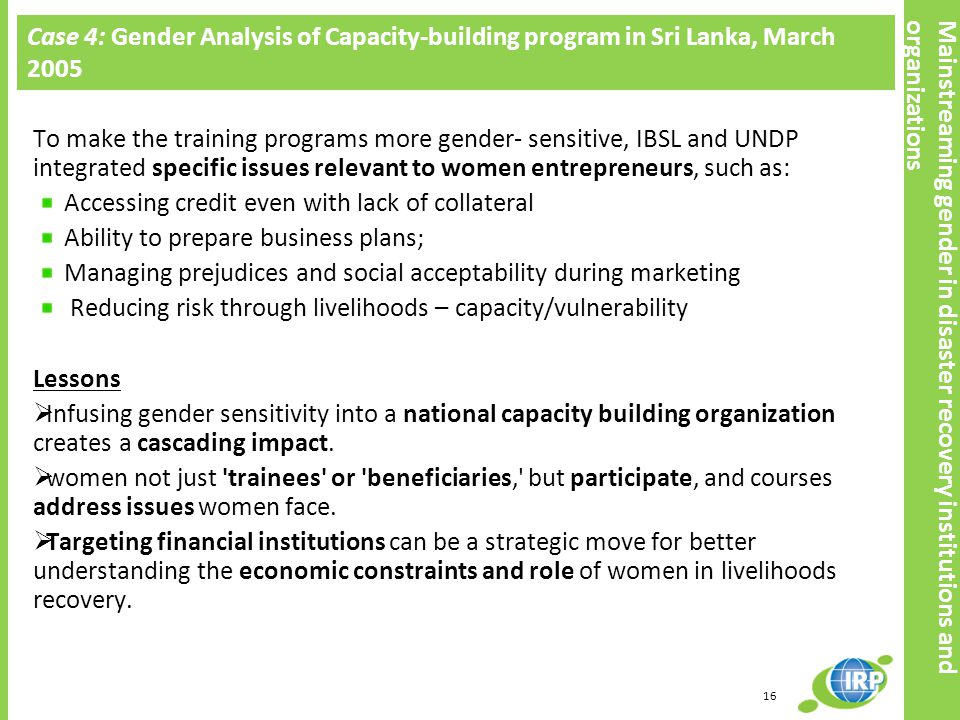 Case 4: Gender Analysis of Capacity-building program in Sri Lanka, March 2005