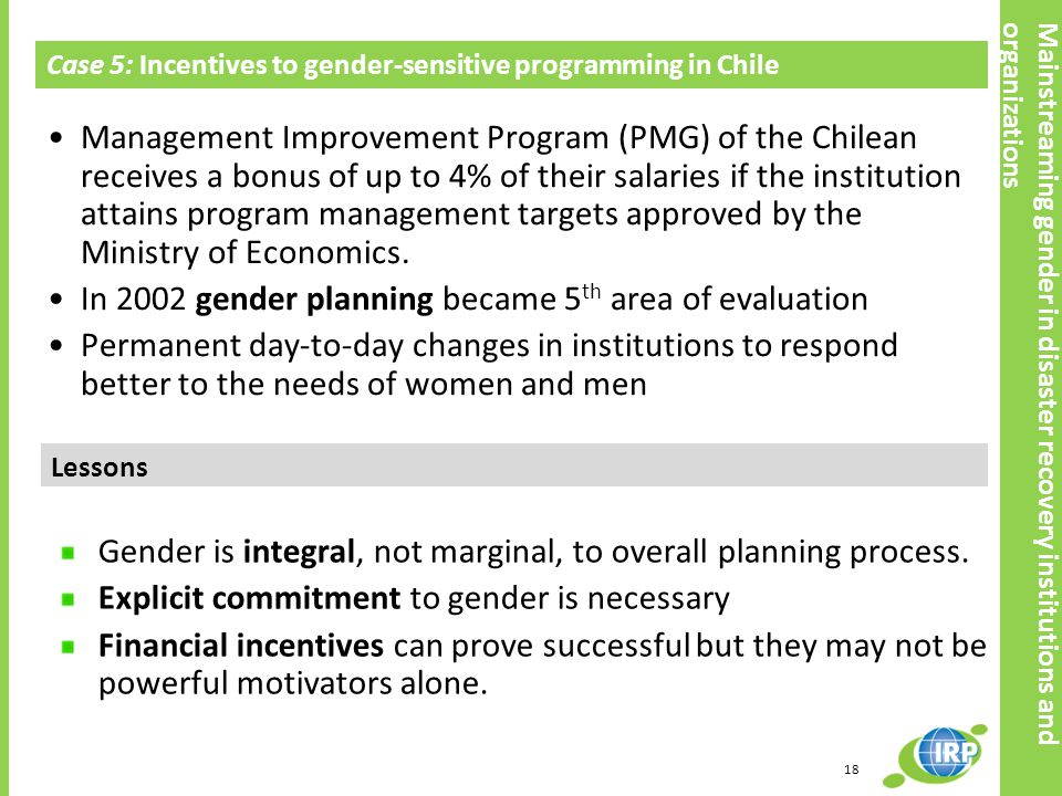 In 2002 gender planning became 5th area of evaluation