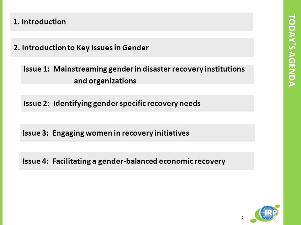 TODAY`S AGENDA 1. Introduction 2. Introduction to Key Issues in Gender