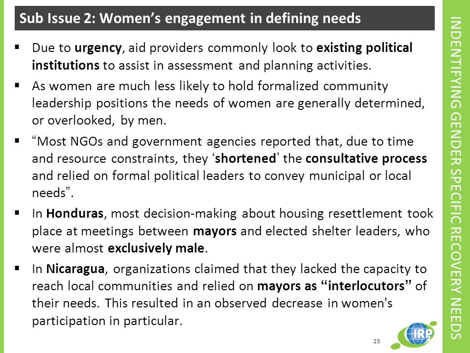 Sub Issue 2: Women's engagement in defining needs