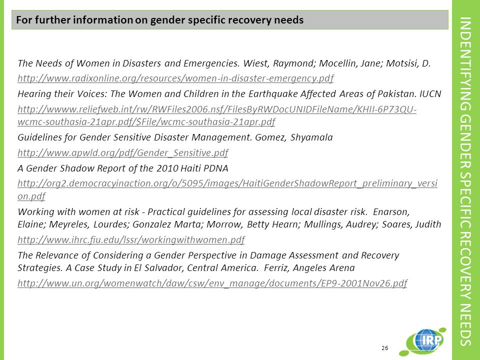 INDENTIFYING GENDER SPECIFIC RECOVERY NEEDS
