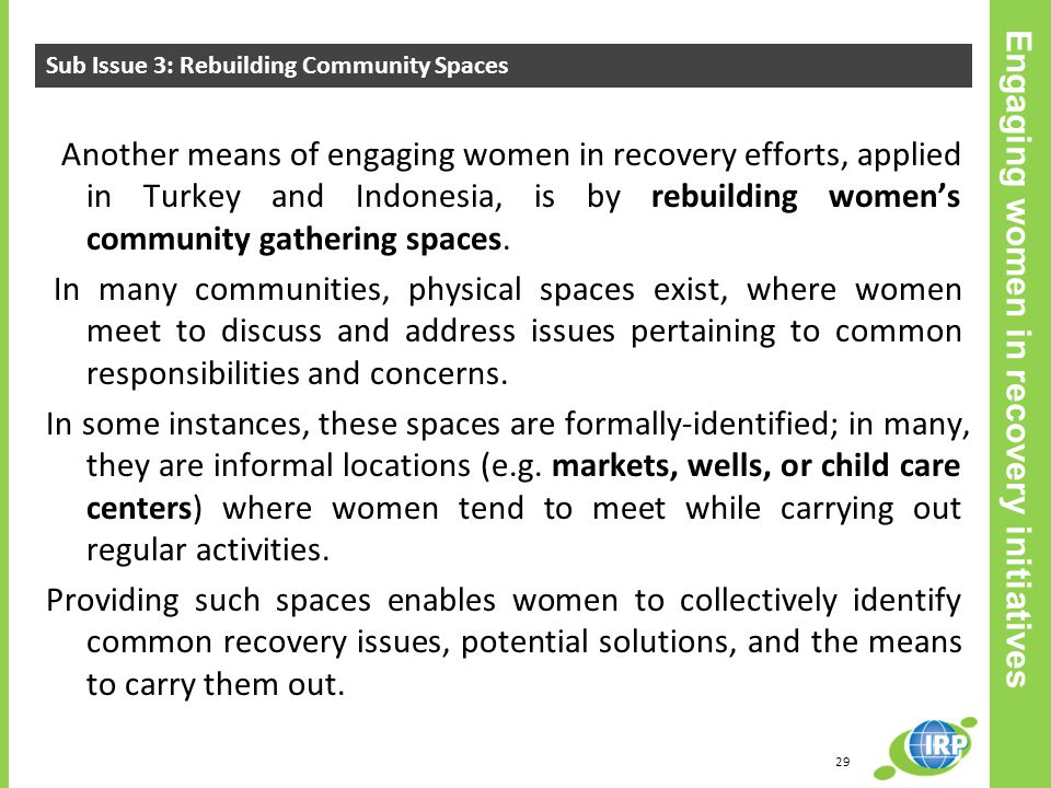 Engaging women in recovery initiatives