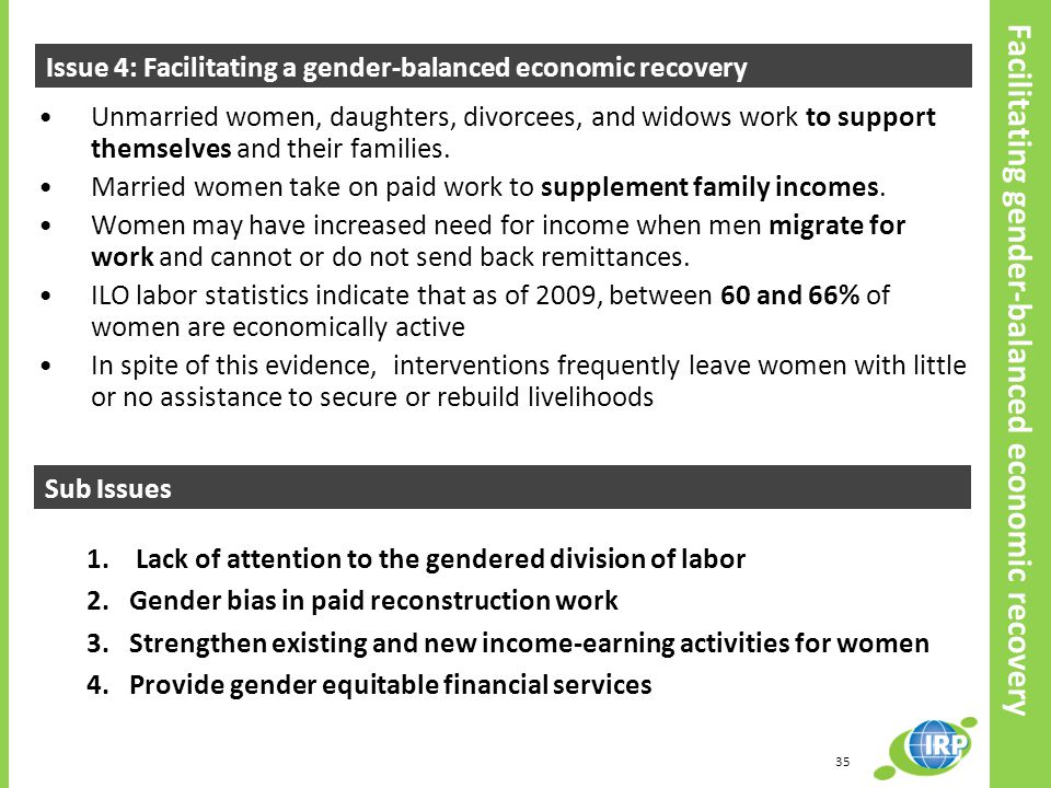 Facilitating gender-balanced economic recovery