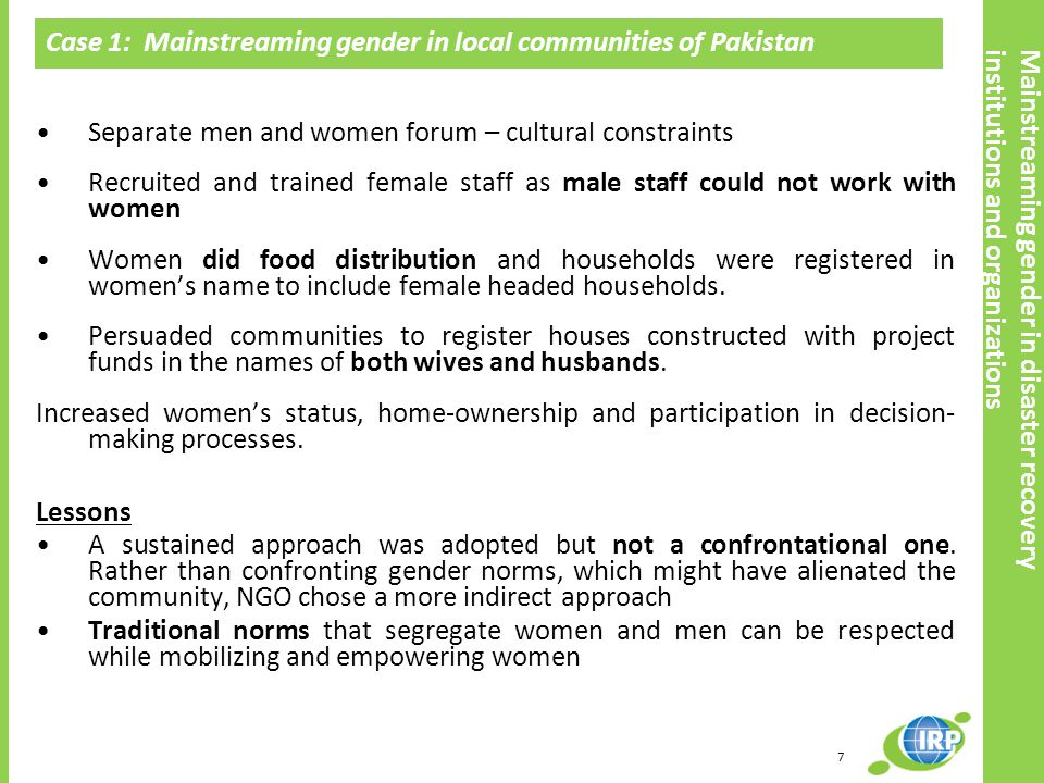 Case 1: Mainstreaming gender in local communities of Pakistan