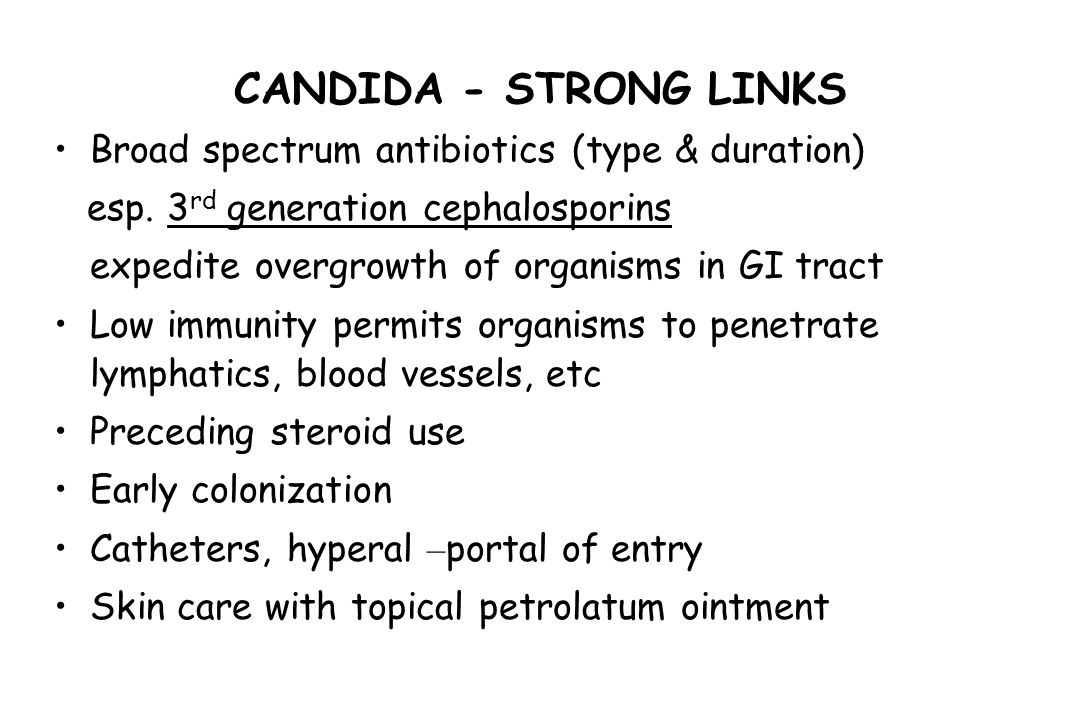 CANDIDA - STRONG LINKS Broad spectrum antibiotics (type & duration)