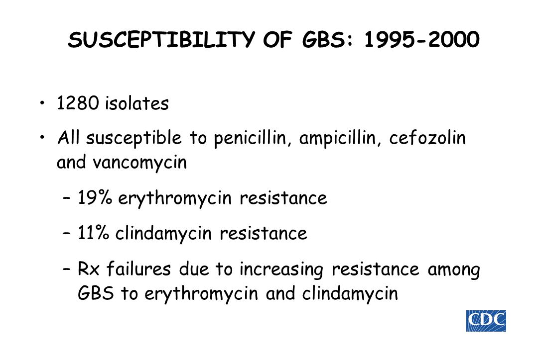 SUSCEPTIBILITY OF GBS: 1995-2000