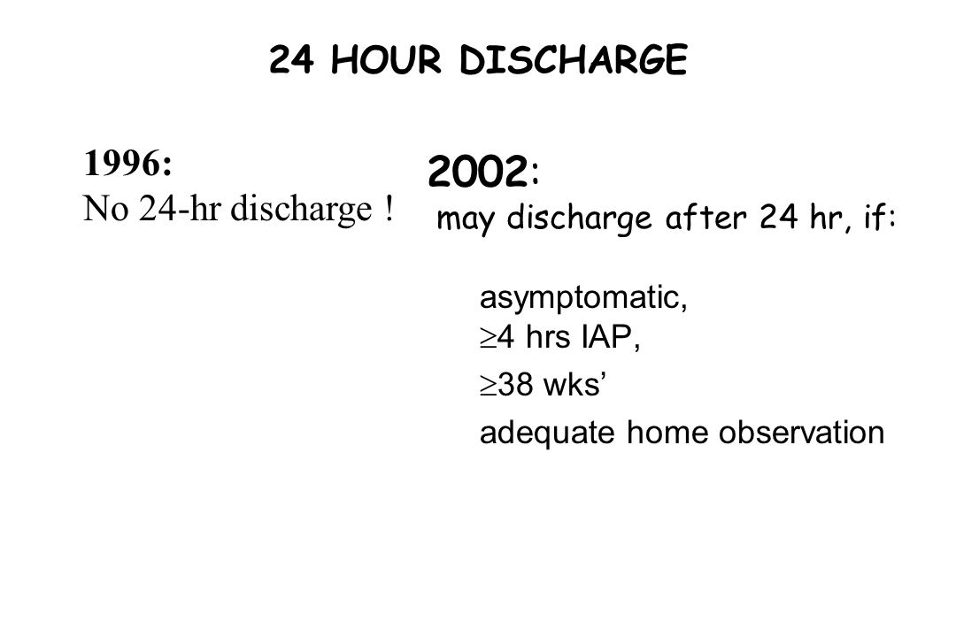 24 HOUR DISCHARGE 1996: No 24-hr discharge ! 38 wks'