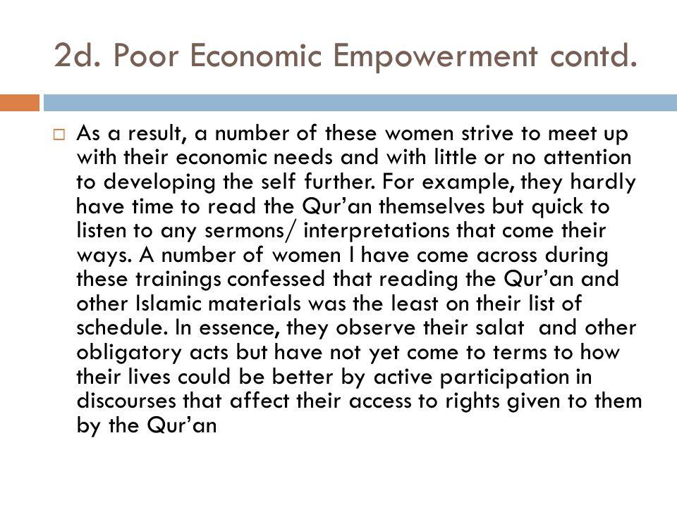 2d. Poor Economic Empowerment contd.
