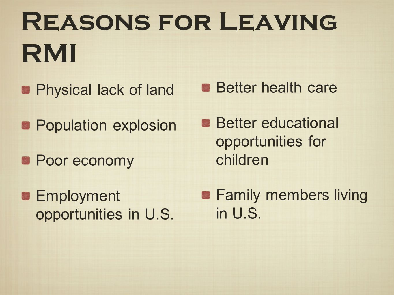Reasons for Leaving RMI