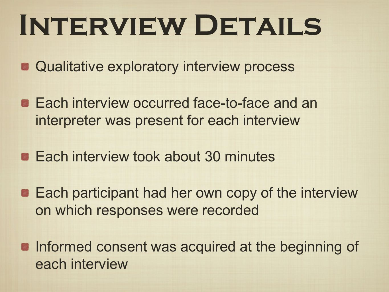 Interview Details Qualitative exploratory interview process