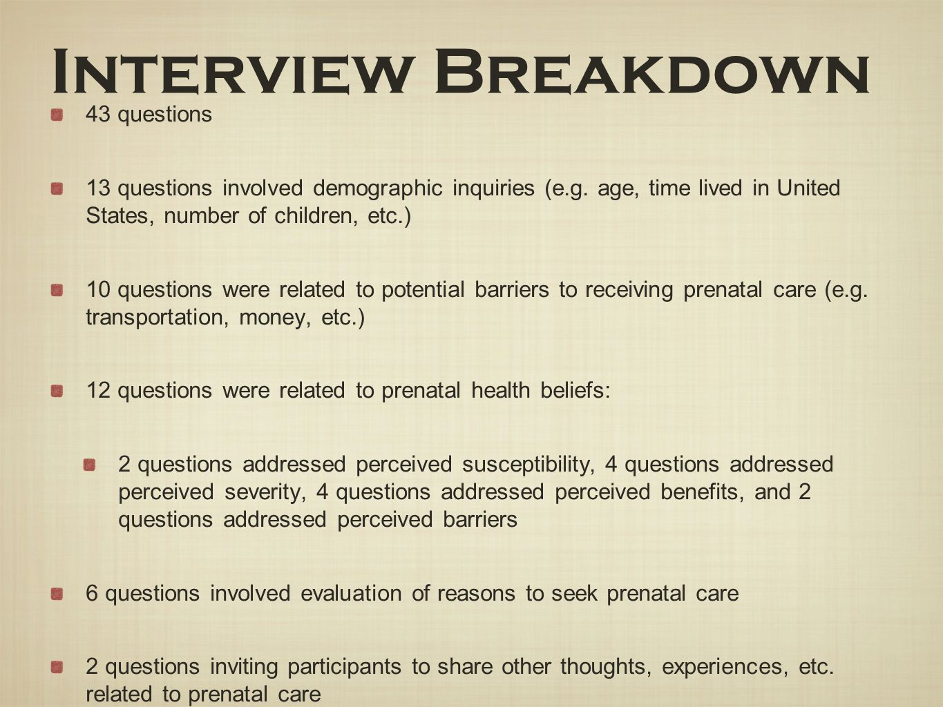 Interview Breakdown 43 questions