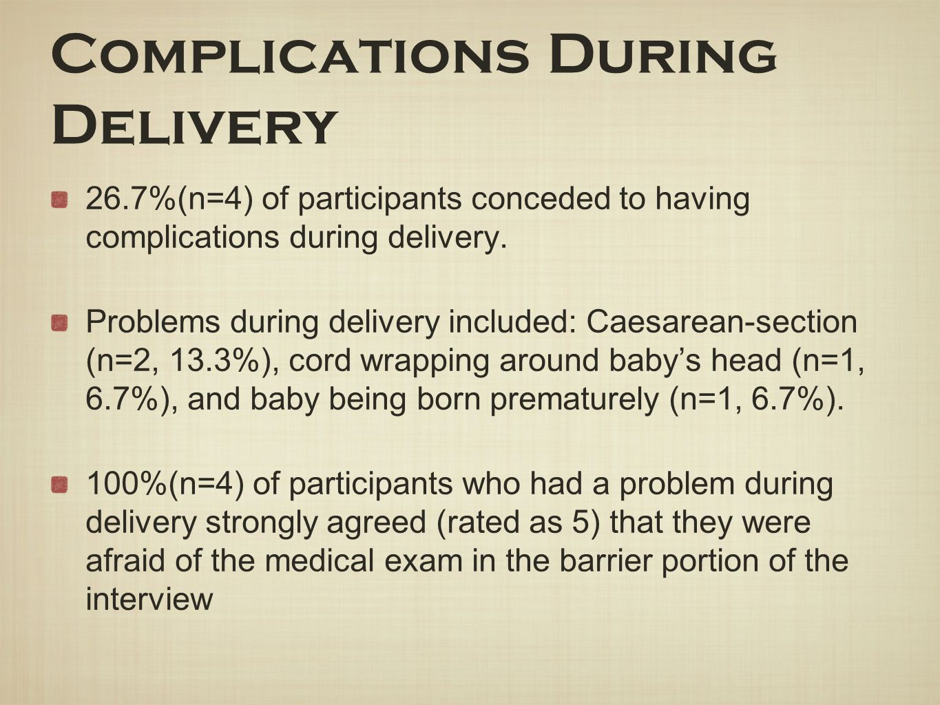 Complications During Delivery