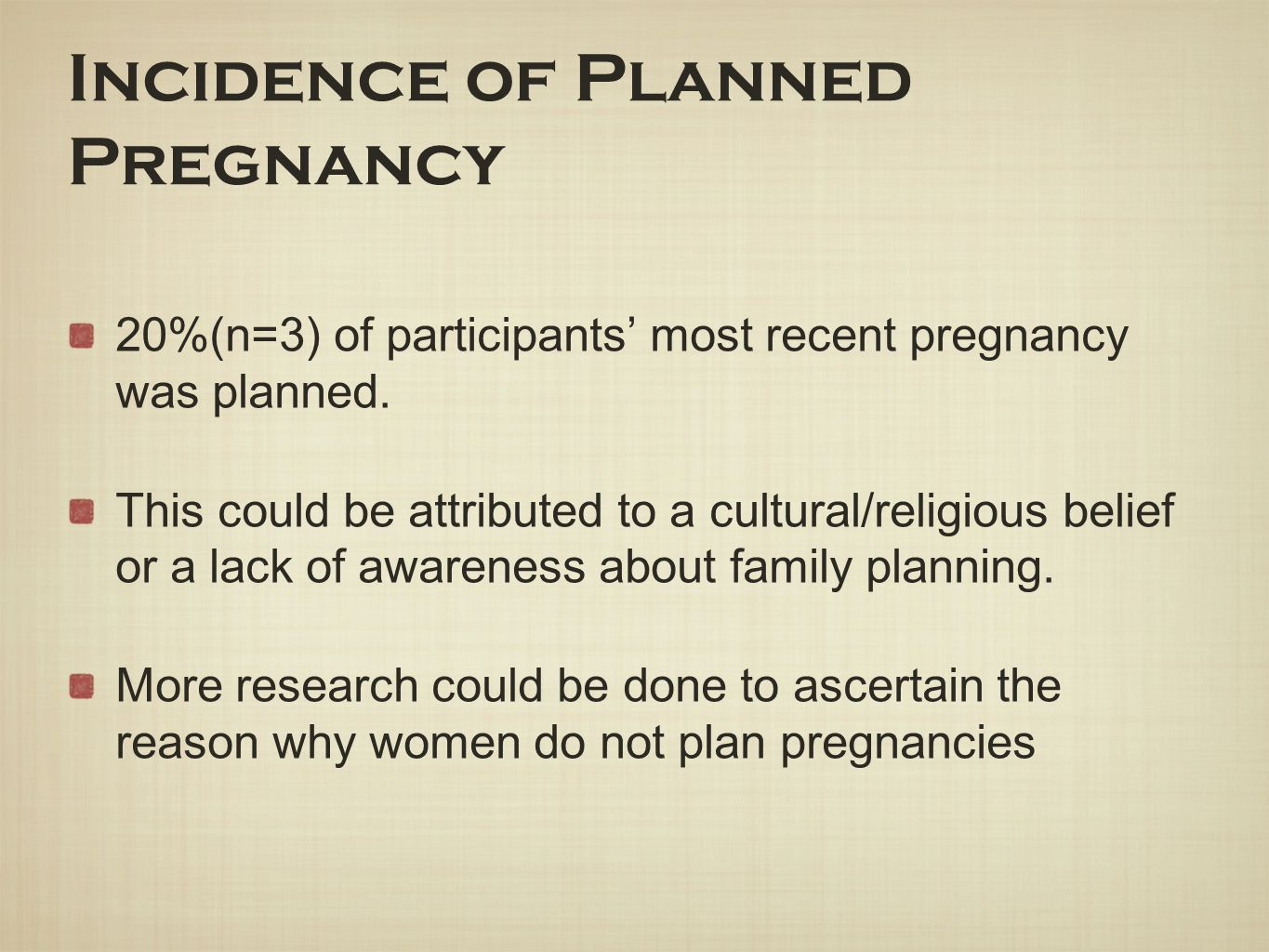 Incidence of Planned Pregnancy