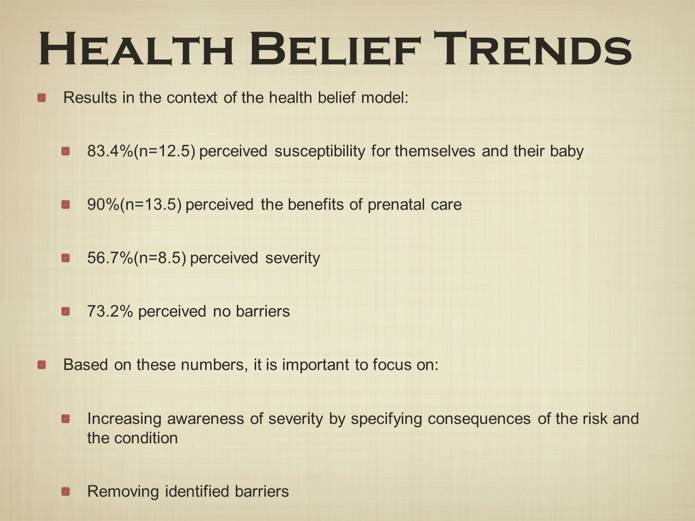 Health Belief Trends Results in the context of the health belief model: 83.4%(n=12.5) perceived susceptibility for themselves and their baby.