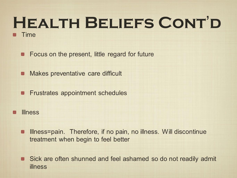 Health Beliefs Cont'd Time