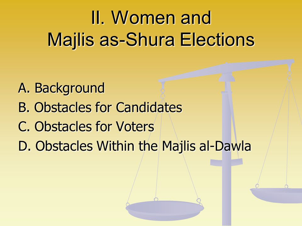 II. Women and Majlis as-Shura Elections