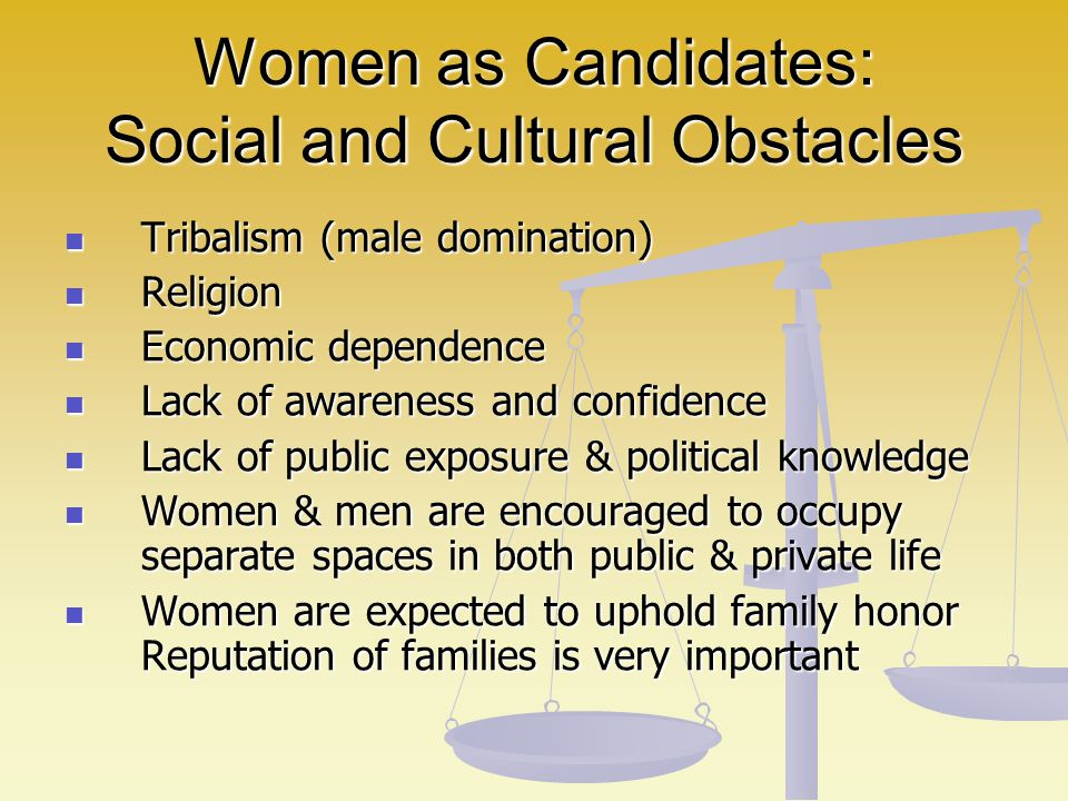 Women as Candidates: Social and Cultural Obstacles