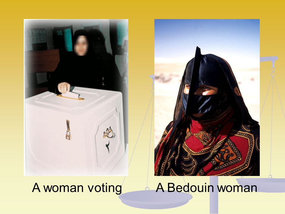 A woman voting A Bedouin woman