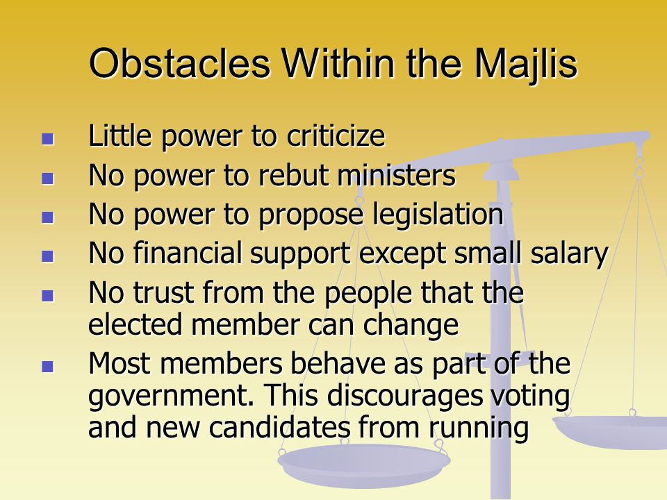 Obstacles Within the Majlis