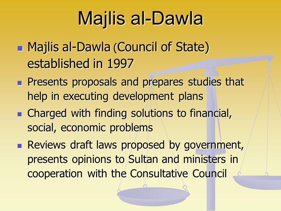 Majlis al-Dawla Majlis al-Dawla (Council of State) established in 1997