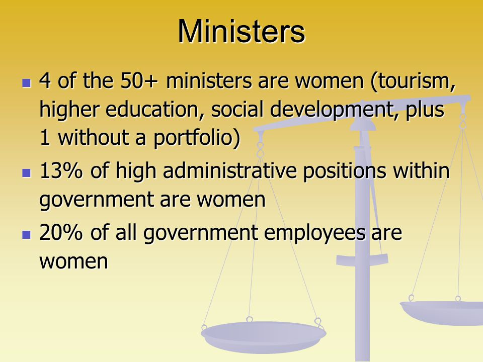 Ministers 4 of the 50+ ministers are women (tourism, higher education, social development, plus 1 without a portfolio)