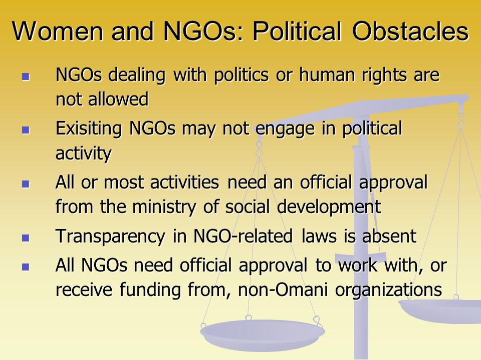 Women and NGOs: Political Obstacles