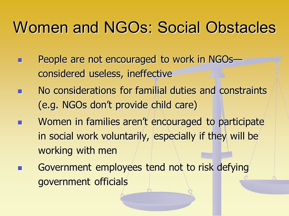 Women and NGOs: Social Obstacles