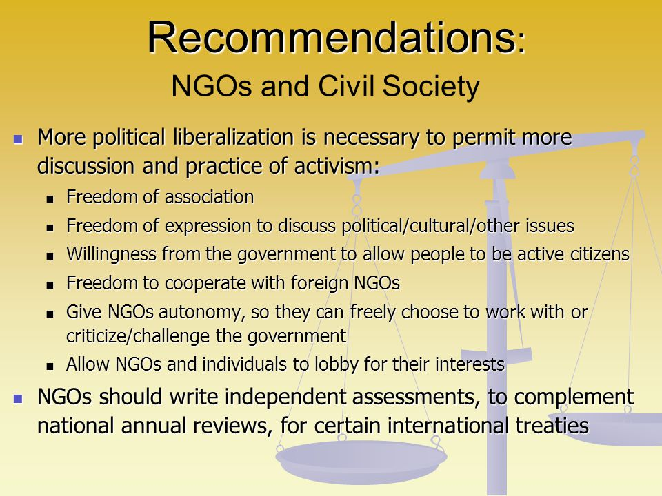 Recommendations: NGOs and Civil Society