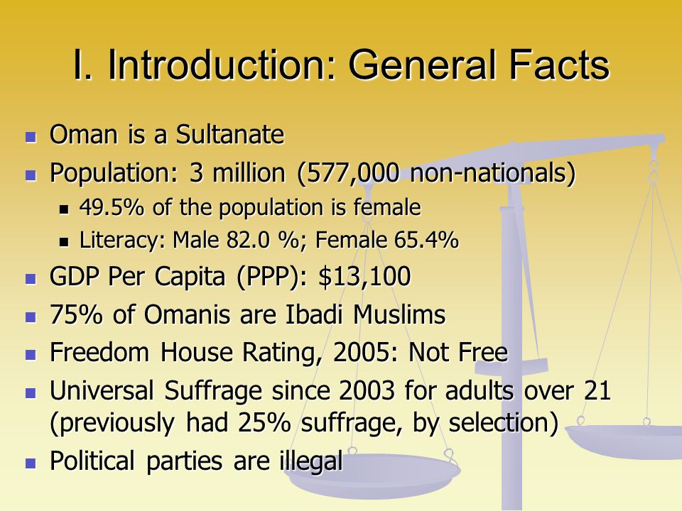 I. Introduction: General Facts