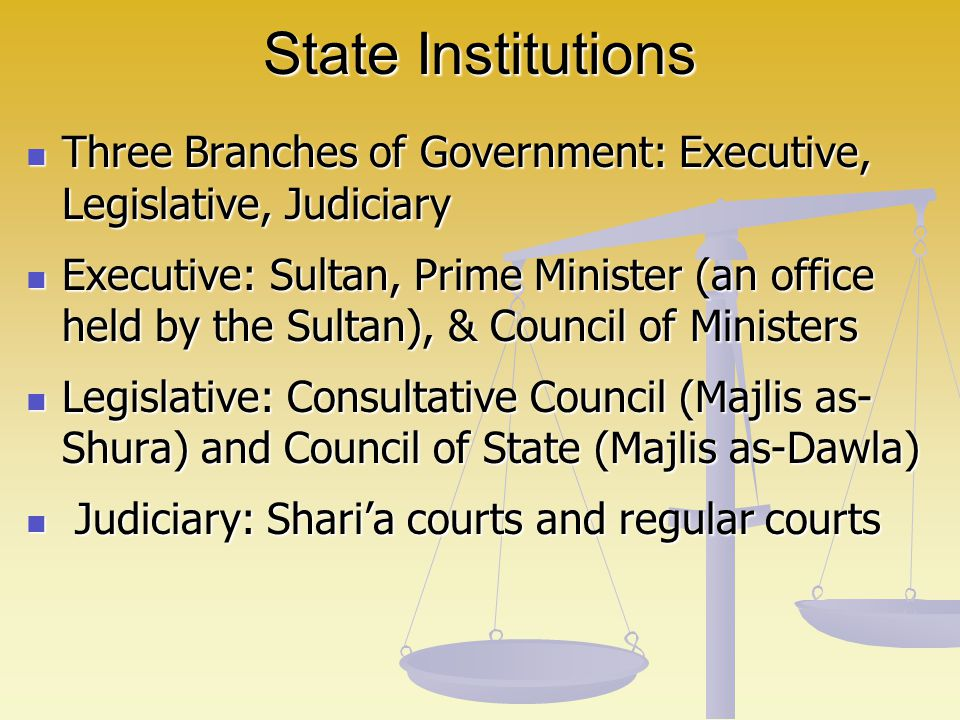 State Institutions Three Branches of Government: Executive, Legislative, Judiciary.
