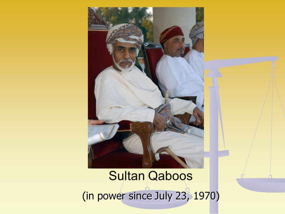 Sultan Qaboos (in power since July 23, 1970)
