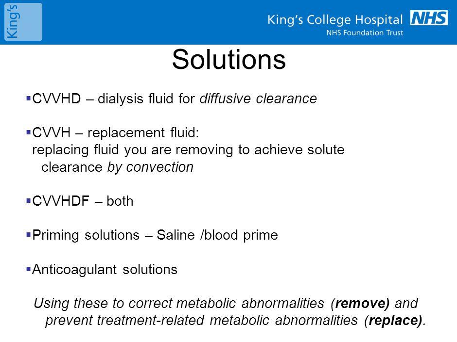 Dialysis fluid Replacement fluid
