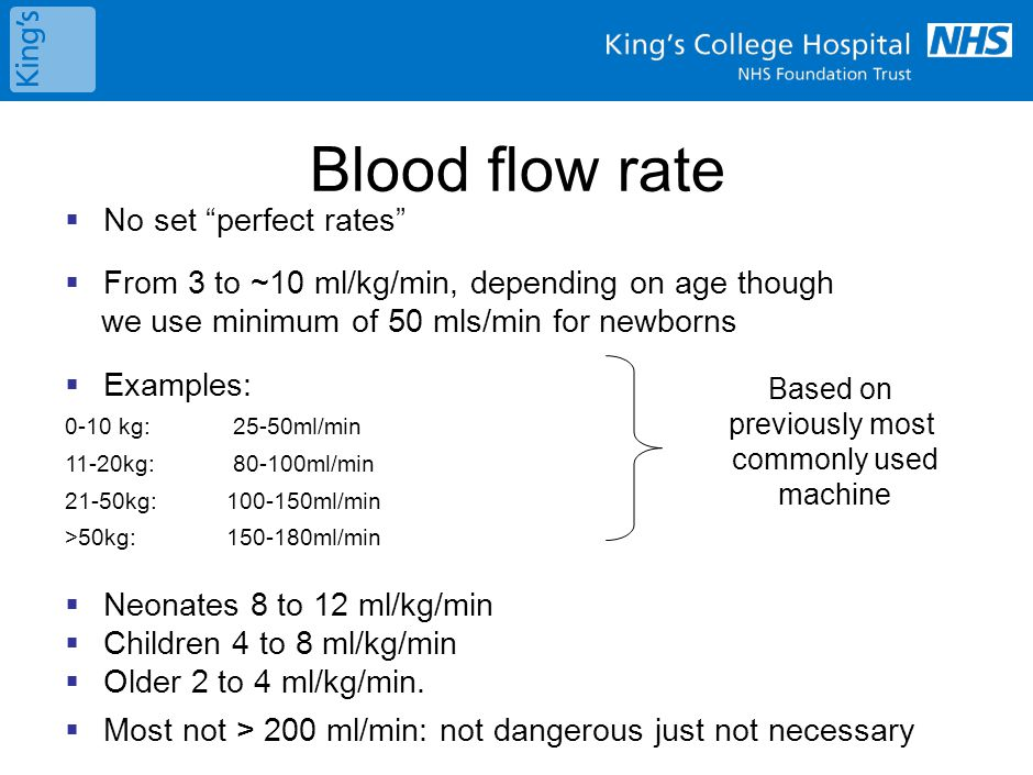 Blood flow rate May need to modify:
