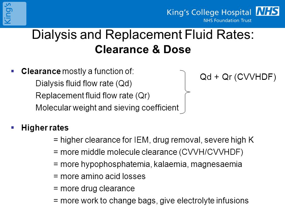 Dialysis and Replacement Fluid Rates: Clearance & Dose