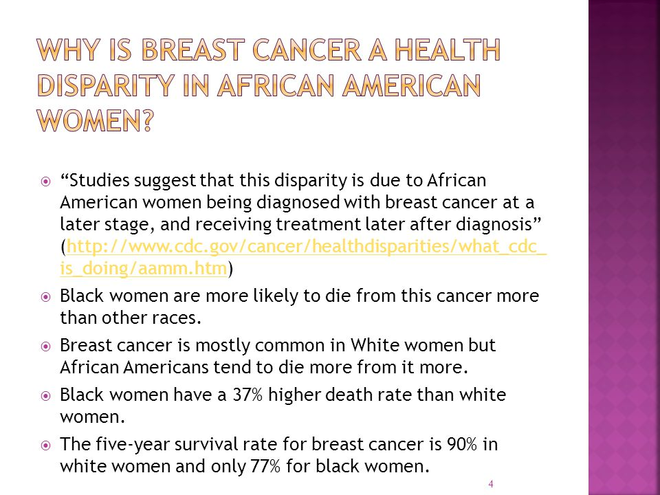 Why is breast cancer a health disparity in African AMERICAN WOMEN