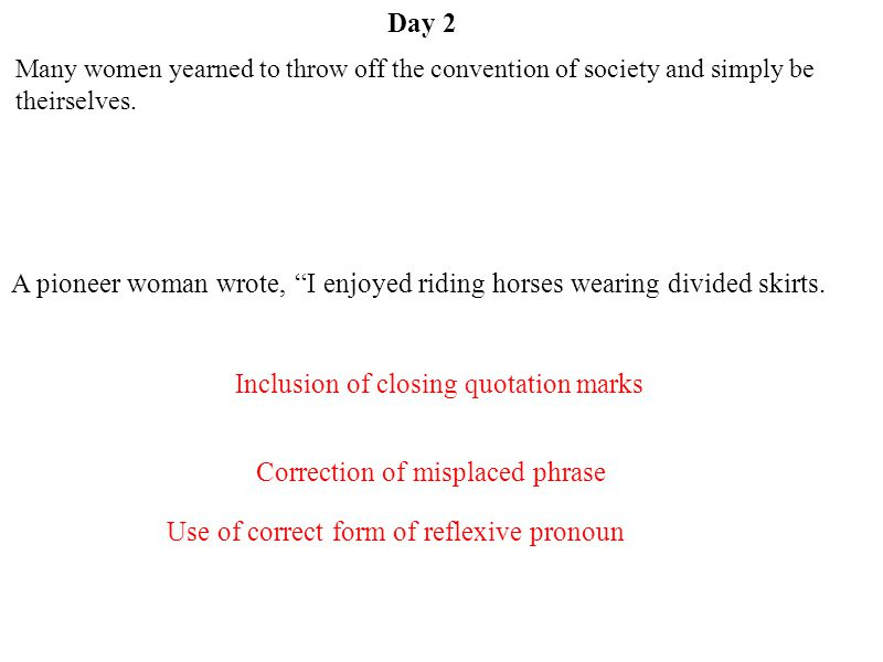Inclusion of closing quotation marks