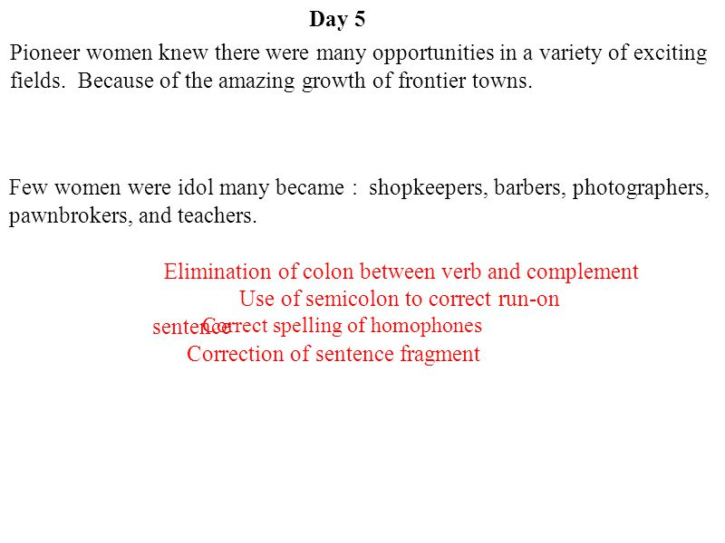 Elimination of colon between verb and complement