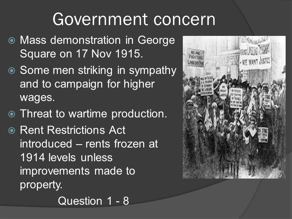 Government concern Mass demonstration in George Square on 17 Nov 1915.
