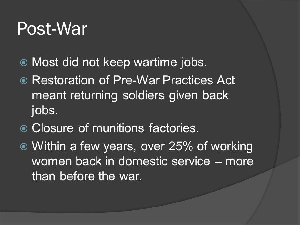 Post-War Most did not keep wartime jobs.