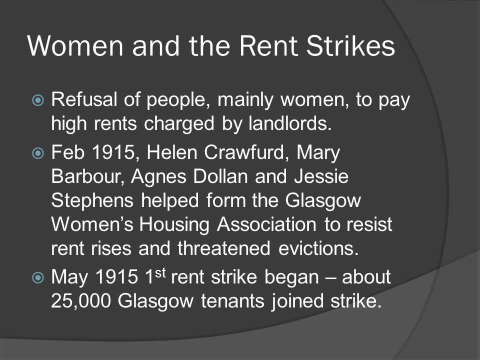Women and the Rent Strikes