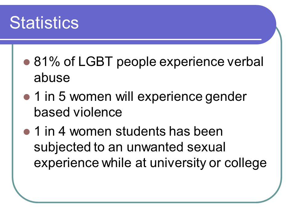 Statistics 81% of LGBT people experience verbal abuse