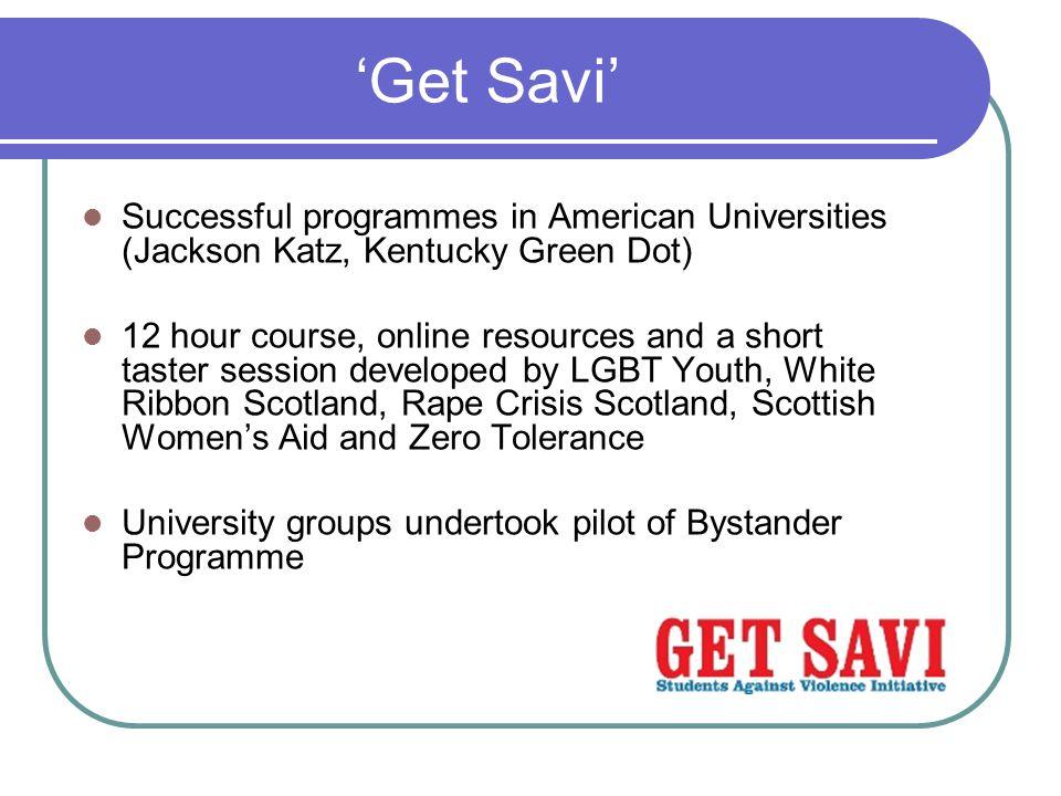 'Get Savi' Successful programmes in American Universities (Jackson Katz, Kentucky Green Dot)