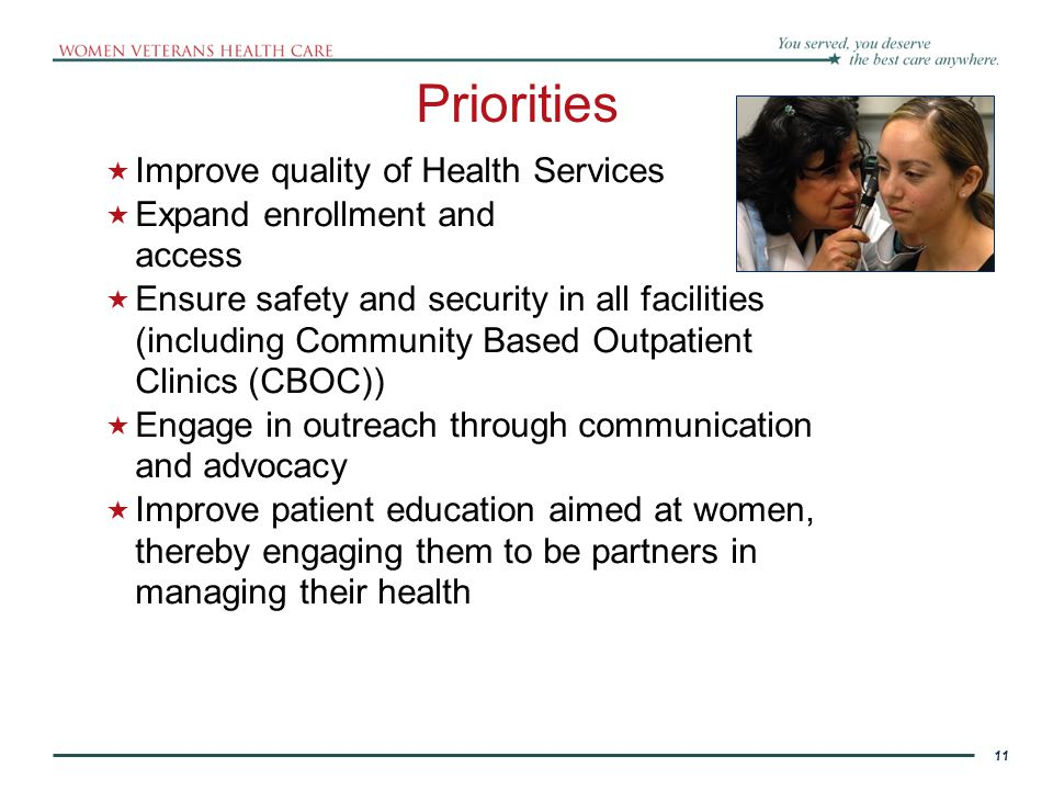 Priorities Improve quality of Health Services