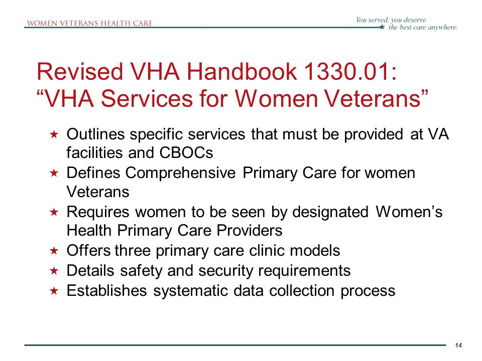 Revised VHA Handbook 1330.01: VHA Services for Women Veterans