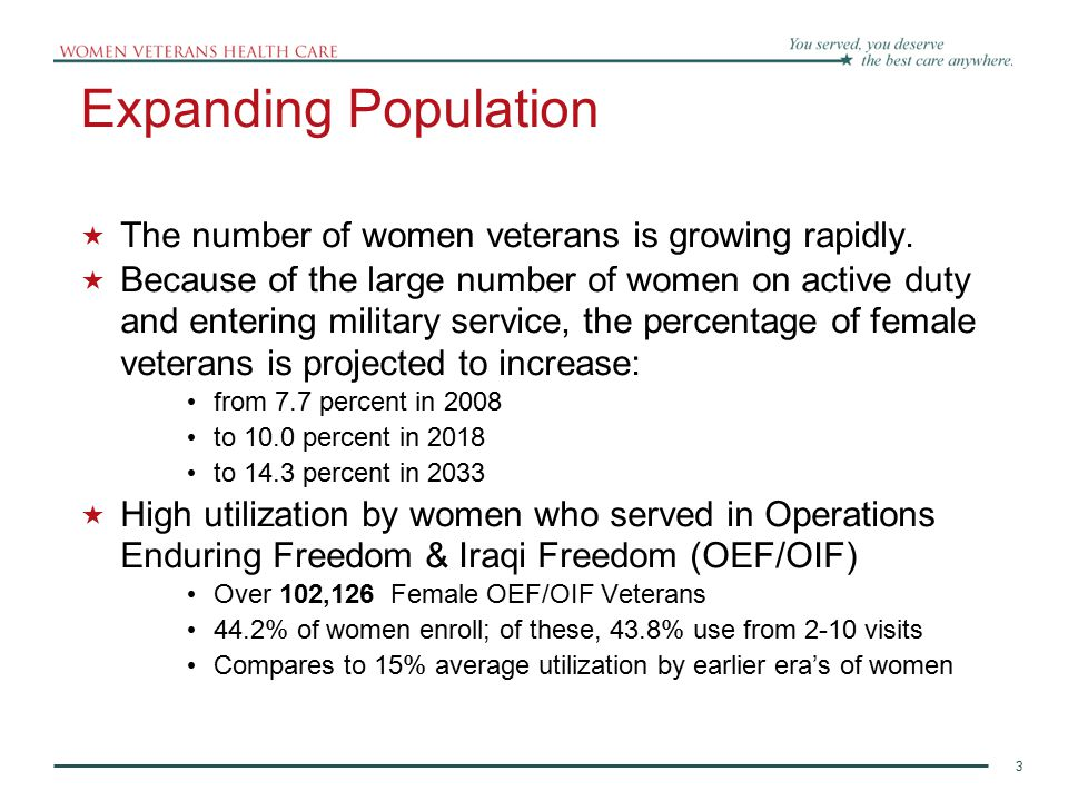 Expanding Population The number of women veterans is growing rapidly.