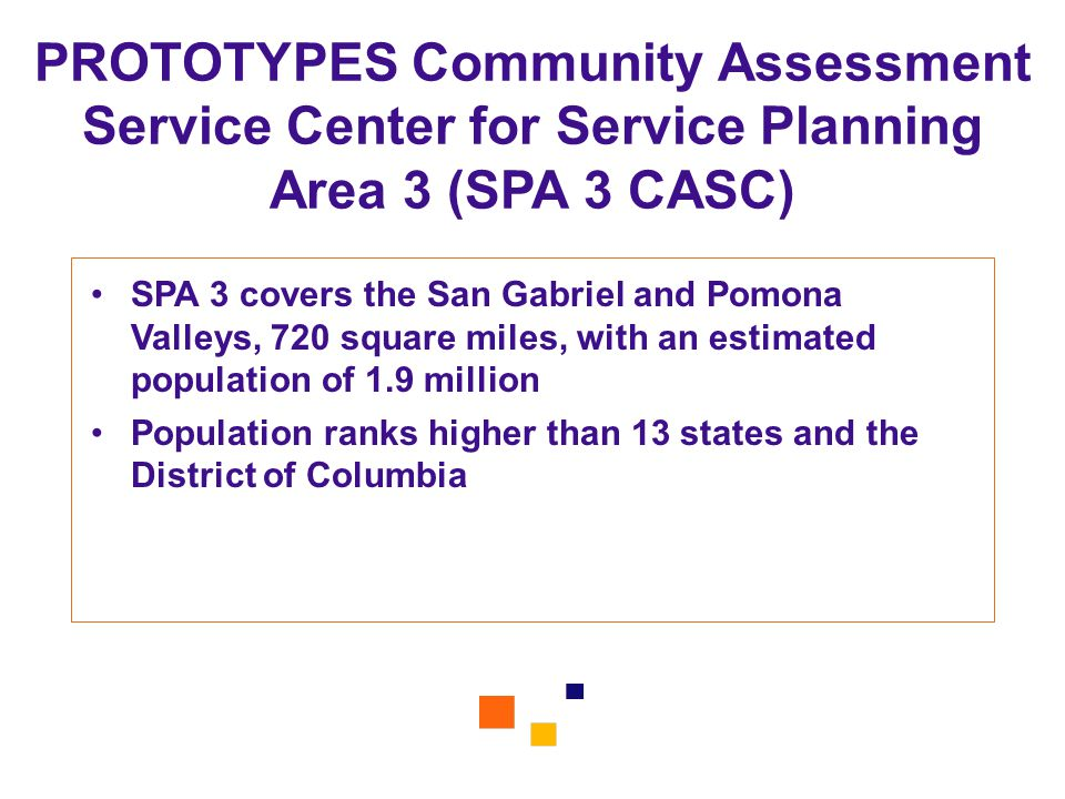 PROTOTYPES Community Assessment Service Center for Service Planning Area 3 (SPA 3 CASC)