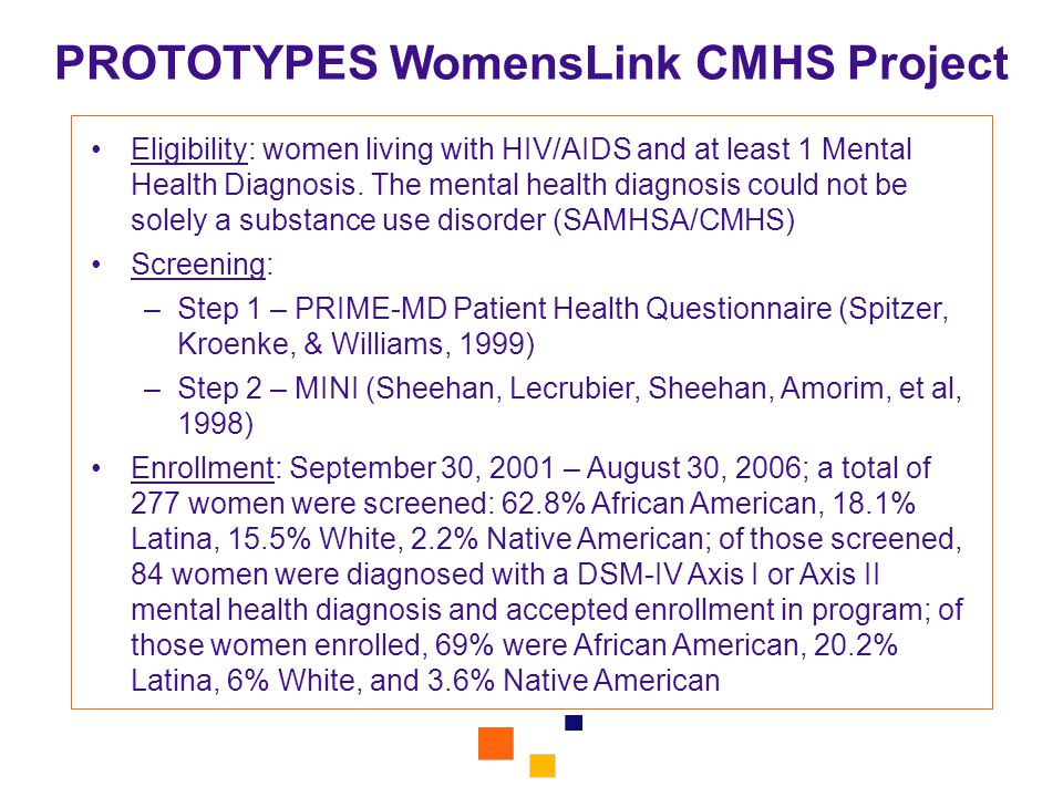PROTOTYPES WomensLink CMHS Project