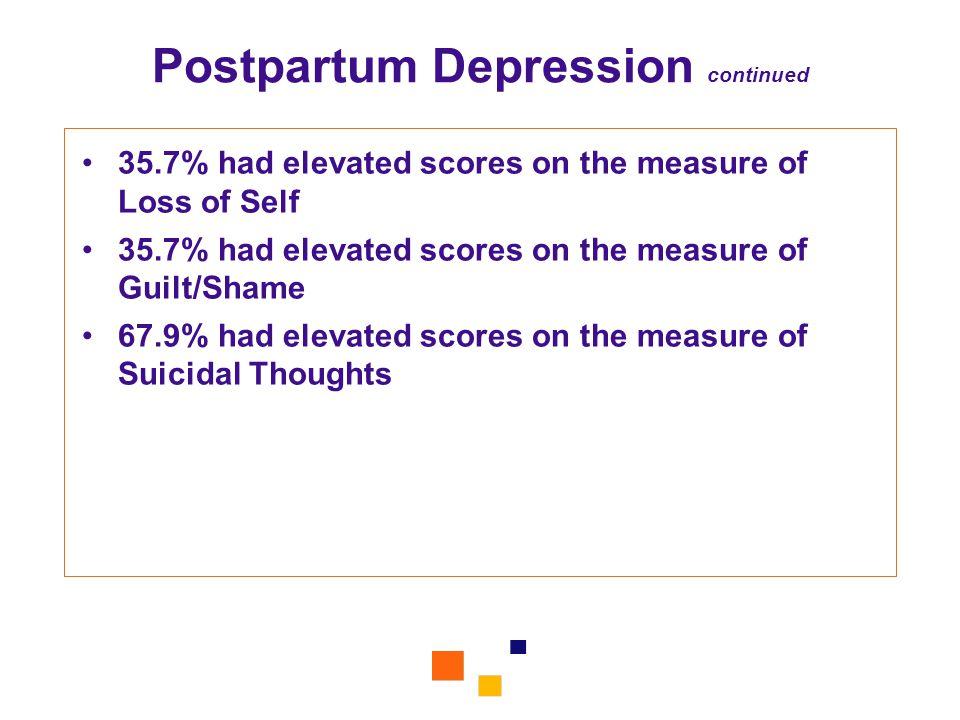 Postpartum Depression continued
